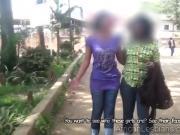 Curvy Ugandan babe eats dark pussy in shower