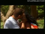 Laura Lion fucked against a tree - anal
