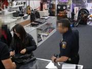Two amateur sluts try to steal and rammed by nasty pawn dude