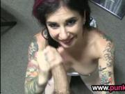 Inked girl in pov action