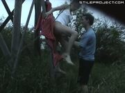 Couple fuck on deer stand outdoors