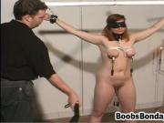 Brunette gets tied up and tortured by a horny guy