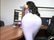 Thick booty ebony secretary and white prick