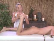 Oiled blonde masseuse banged doggy style