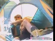 Nice couple fucks in a camping tent