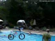 Epic BMX Backyard Jump Into Pool