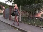 Busty blonde teen fucking in public
