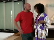 Hot ebony gives a kinky Nuru massage to lucky bald man