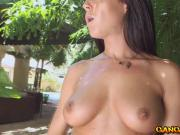 Horny Rahyndee showed off her nice big tits and big ass