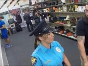 Huge boobs police officer banged by pawn man in the backroom