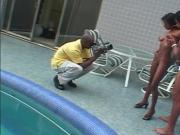 Black couple fuck by the pool