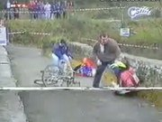 Cyclist Thrown Off Bridge For Bad Sportsmanship