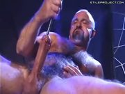 Hairy Guy Masterbates With Long Metal Rod In Dick