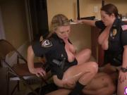 Threesome cops riding face sitting interracial