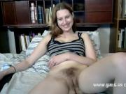 Hot babe fucks a dildo on camera