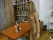 Blonde bitch masturbating in hot POV
