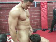 Muscled ripped jocks fuck in the octagon