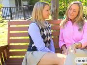 Hot teen Mia Malkova and big juggs stepmom shared on dick