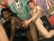 Black Slut Gets Sandwiched By White Studs