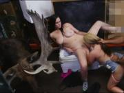 Lesbian couple fucked by nasty pawn dude in storage room