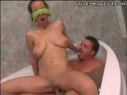 Laura lion gets dirty in the bathtub