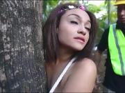 Poor teen brunette babe Jaye Austin gets fucked in the woods
