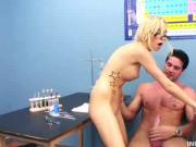Blonde Chick In Eye Glasses Loves Intense Banging Lesson With Her Instructor