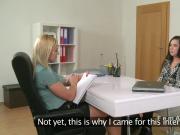 Brunette licks blonde female agent in casting