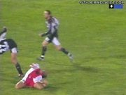 Soccer Player's Head Nearly Decapitated By Kick