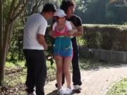 Sporty natural busty asian babe outdoor fun