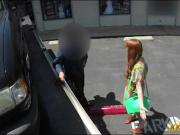 Hot amateur red haired chick sucked tow truck drivers cock