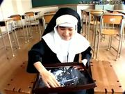 Japanese Nun Plays With Cum On A Tray In A Classroom
