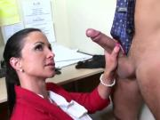Two Busty Office Sluts Take Turns Riding Clients