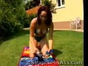 Naughty juggy plays lonely with her new big toy in her backyard