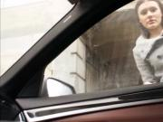 Brunette babe Kitana gets fucked in the back seat