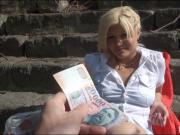 Czech girl flashes her tits and pounded in public place