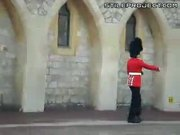 English palace guard barfs while goose stepping back and forth
