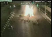 car crashes in tokyo then explodes on impact