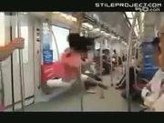 japanese stripper girl pole dances on the subway