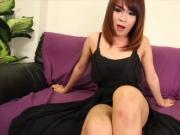 Glamour petite thai ladyboy strips and wanks