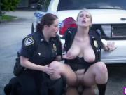 Big tits female cops riding outdoor threesome