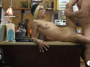 Skinny blonde with glasses gets pounded at the pawnshop