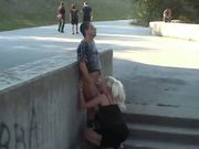 Bombshell Slut Swallows Dick In Public!