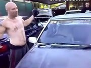 Guy Smashes Windshield With Forehead