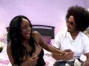 Black thug tongues beautiful black babe in black porn parody