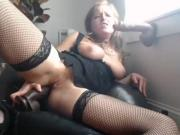Webcam model double penetrating herself with two huge dildos