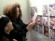 2 ebony teens find a white thug teasing them thru gloryhole