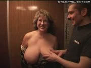 Granny blows two cocks in the elevator