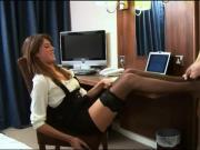 Stockinged babe gives footjob