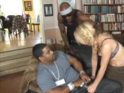 Nasty bitch Bambi Diamond double fucked by black dudes